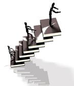 stellingen als een trap met boeken