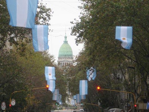 De vlaggen in Buenos Aires