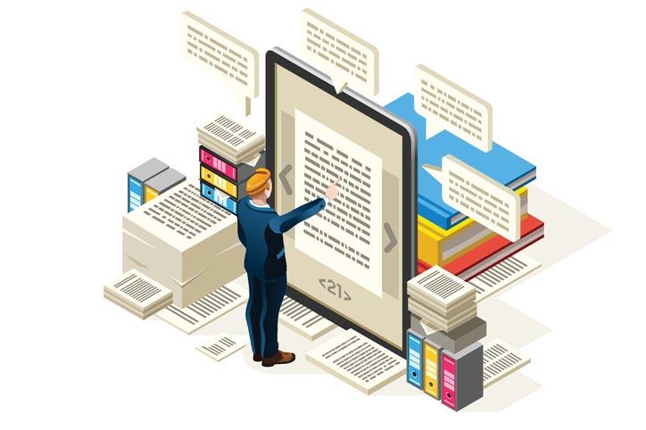 Pictogram van stapels papier, boeken en een e-book, activiteiten van Boekenplan