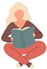 lezende vrouw op zoek naar het colofon